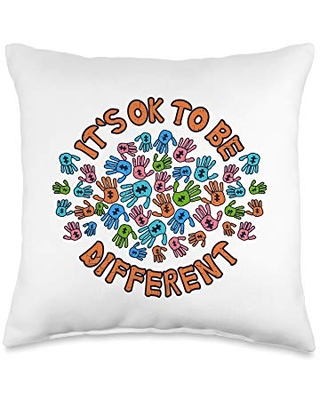 Autism Awareness Apparel Co. It's Ok To Be Different Autism Awareness Month Throw Pillow, 16x16, Multicolor