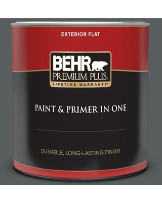 BEHR PREMIUM PLUS 1 qt. #N500-6 Graphic Charcoal Flat Exterior Paint and Primer in One