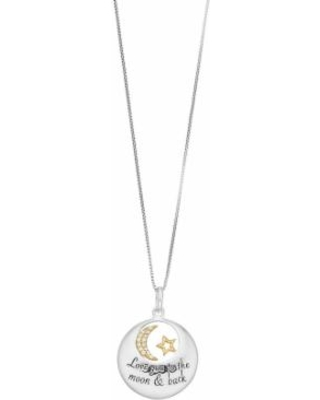 """Timeless Sterling Silver """"Love You to the Moon & Back"""" Pendant Necklace, Women's, White"""