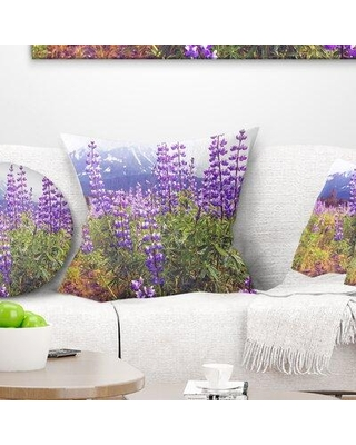 """East Urban Home Floral Meadow in Alaska with Flowers Pillow FTIF7208 Size: 16"""" x 16"""" Product Type: Throw Pillow"""