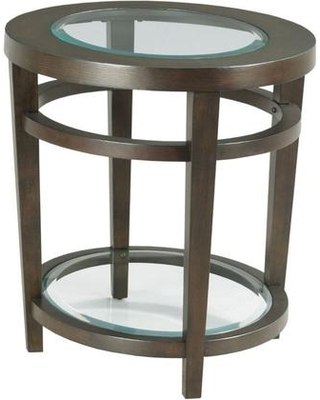 Urbana Collection 880-916 Round End Table with Tempered Glass Inserts in a Dark Oak Finish Wood Shelf on the Bottom in Dark