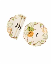 Manor Luxe Halloween Jack-o-Lanterns Embroidered Cutwork Placemats - Set of 4 - Multi