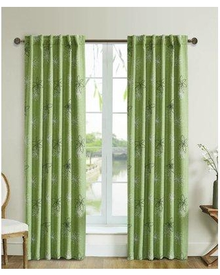 Ebern Designs Pinero Nature/Floral Blackout Tab Top Single Curtain Panel EBRD2090 Curtain Color: Green