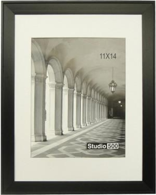 "Studio 500 Modern Posh Beveled Picture Frame 108P - MTBLK - 11x14 / 108P - MTBLK - 16x20 Picture Size: 14"" x 11"""