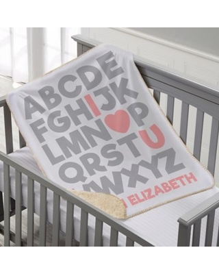Alphabet Message Personalized 30-Inch x 40-Inch Sherpa Baby Blanket