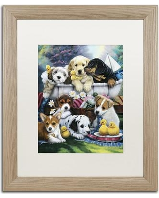 "Trademark Art 'Bath Time Pups' Framed Graphic Art Print on Canvas ALI1945-T1114MF / ALI1945-T1620MF Size: 20"" H x 16"" W x 0.5"" D"