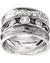 Silpada 'Constellation' White Cubic Zirconia Band Ring in Sterling Silver