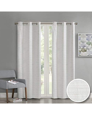 Comfort Spaces Grasscloth Blackout Window Curtain Pair / 2 Pieces Panels Grommet Top Energy Efficient Saving Drapes for Living Room Bedroom and Dorm, 63 inch, White