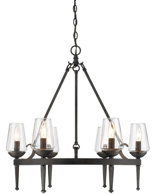 Golden Lighting Marcellis 6-Light Dark Natural Iron Chandelier with Clear Glass Shade