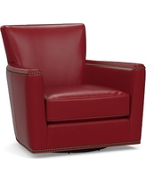 Irving Square Arm Leather Swivel Rocker with Bronze Nailheads, Polyester Wrapped Cushions, Leather Signature Berry Red