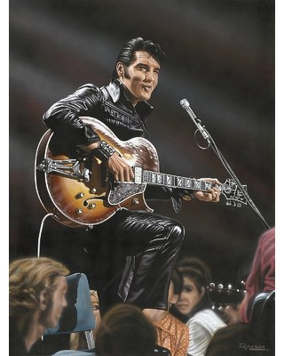 Elvis in Leather Artwork by Darryl Vlasak Painting Print on Wrapped Canvas