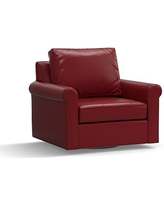 Cameron Roll Arm Leather Swivel Armchair, Polyester Wrapped Cushions, Leather Signature Berry Red