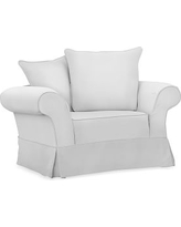 Charleston Slipcovered Chair-and-a-Half, Polyester Wrapped Cushions, Performance Twill Warm White