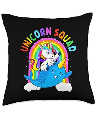 Unicorn Squad Goals Gift Store Unicorn Squad Narwhal Whale Rainbow Birthday Party Gift Girl Throw Pillow, 18x18, Multicolor