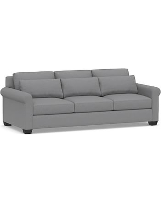 """York Deep Seat Roll Arm Upholstered Grand Sofa 98"""", Down Blend Wrapped Cushions, Textured Twill Light Gray"""