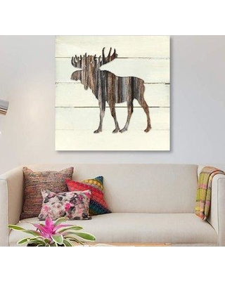 """East Urban Home 'Woodland Moose' Graphic Art Print on Canvas ETRB4485 Size: 37"""" H x 37"""" W x 1.5"""" D"""