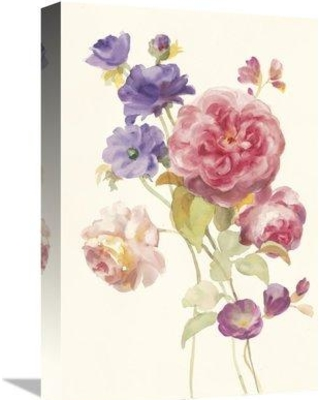 """East Urban Home 'Watercolor Flowers II' Watercolor Painting Print om Canvas ESUM5781 Size: 18"""" H x 12"""" W"""