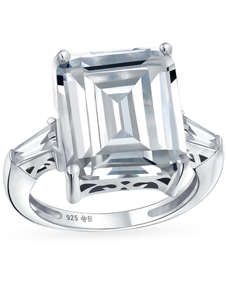Art Deco Style 925 Sterling Silver 7CT Rectangle AAA CZ Emerald Cut Statement Engagement Ring Baguette Side Stones (9)