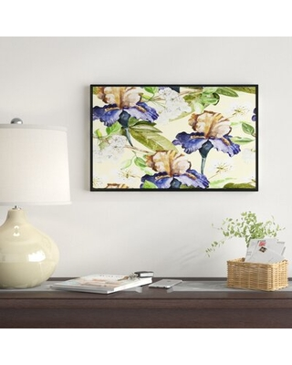 "'Seamless Flowers Vector' Framed Oil Painting Print on Wrapped Canvas East Urban Home Size: 32"" H x 42"" W x 1.5"" D"