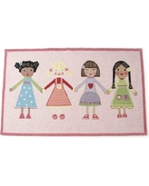 The Little Acorn Best Friends Hand Hooked Wool Pink Area Rug S11R04