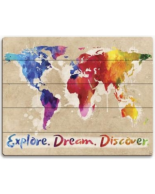 "Click Wall Art 'Explore Dream Discover the World' Painting Print on Plaque TRV0000009PLK Size: 20"" H x 24"" W x 1"" D"
