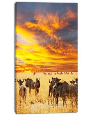 """Design Art 'Antelope Crowd at Sunset' Photographic Print on Wrapped Canvas, Canvas & Fabric in Brown/Yellow, Size 32"""" H x 16"""" W x 1"""" D   Wayfair"""