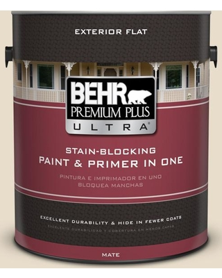 BEHR Premium Plus Ultra 1 gal. #YL-W12 Antique White Flat Exterior Paint and Primer in One