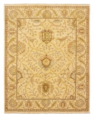 "One-of-a-Kind Insley Hand-Knotted 2010s Chobi Brown/Cream 7'11"" x 10'1"" Wool Area Rug Astoria Grand"