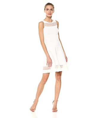 French Connection Women's Tobey Crepe Knits Dress, Summer White, 4