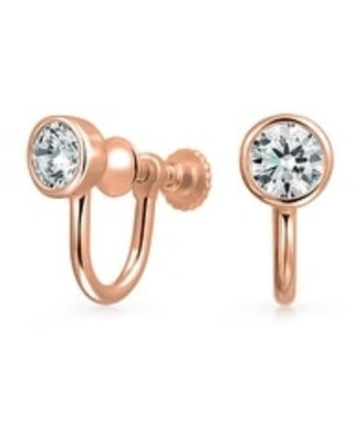 Minimalist Bezel Solitaire AAA CZ Screwback Clip On Stud Earrings Rose 14K Gold Plated 925 Sterling Silver More Colors (Rose)