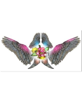 """East Urban Home Floral 'Wing Flower' Graphic Art Print on Wrapped Canvas ETUC2841 Size: 16"""" H x 32"""" W x 1"""" D"""