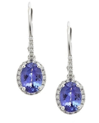 Anika and August 14k White Gold 1/5ct TDW Diamond Tanzanite Leverback Earrings (G-H, I1-I2) (TZ)