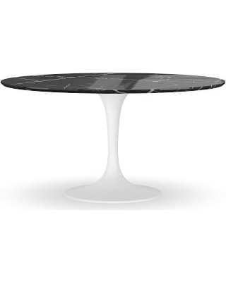 "Tulip Pedestal 56"" Round Dining Table, White Base, Black Marble Top"