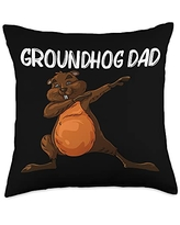 Funny Groundhog Marmot Groundhog Costume Clothes Cool Gift for Dad Father Groundhog Day Pet Rodent Throw Pillow, 18x18, Multicolor
