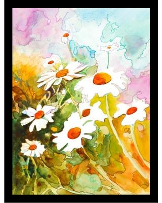 """Buy Art For Less 'Daisies Poster' by Elizabeth Stack Framed Painting Print IF ES018 1.25 Black Size: 24"""" H x 18"""" W x 1"""" D"""