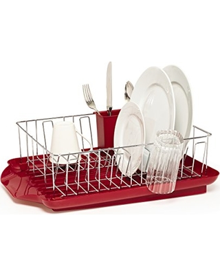 Farberware Professional 3-Piece Dish Rack , Red, 20-Inch-by-15-Inch - 5148436