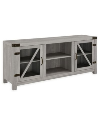 Forest Gate 58-Inch Wheatland Rustic Farmhouse TV Stand in Stone Grey