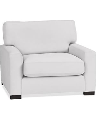 Turner Square Arm Upholstered Armchair without Nailheads, Down Blend Wrapped Cushions, Twill White
