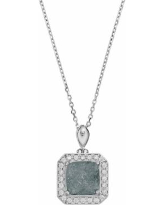 """Sterling Silver Cubic Zirconia Square Halo Pendant, Women's, Size: 18"", Grey"""