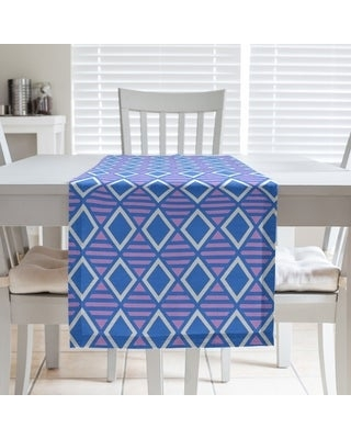 Two Color Geometric Diamonds Table Runner (16 x 72 - Polyester - Blue & Purple)