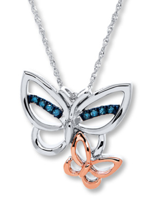 Jared The Galleria Of Jewelry Blue Diamond Butterfly 1/20 ct tw Necklace Sterling Silver