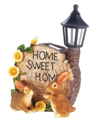 """Adorable Mom and Baby Rabbit Solar Figurine 7x5x14"""" (Home Sweet Home)"""
