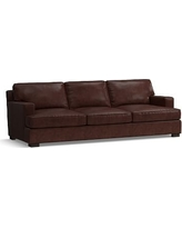 Townsend Square Arm Leather Grand Sofa, Polyester Wrapped Cushions, Leather Statesville Espresso