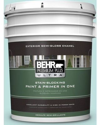 BEHR Premium Plus Ultra 5 gal. #M450-2 Tidewater Semi-Gloss Enamel Exterior Paint and Primer in One