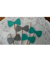 Teal Polka Dot Grey and White Bow Tie Cupcake Toppers - Teal Dots - Food Picks - Party Picks - Baby Shower Toppers - Bowtie Toppers (Set of 24)