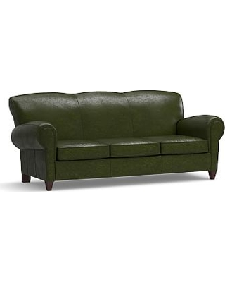 """Manhattan Leather Sofa 86"""" with Bronze Nailheads, Polyester Wrapped Cushions, Legacy Forest Green"""
