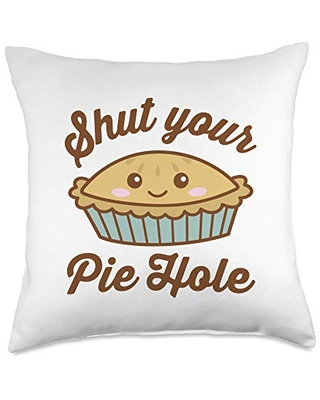 Detour Shirts Shut Your Pie Hole Funny Saying Thanksgiving Pi Day Dark Throw Pillow, 18x18, Multicolor