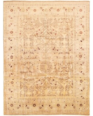 """One-of-a-Kind Viken Hand-Knotted 2010s Ushak Ivory 8'10"""" x 11'10"""" Wool Area Rug"""