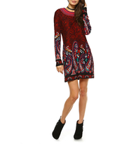 White Mark Sandrine Embroidered Sweater Dress, Large , Red