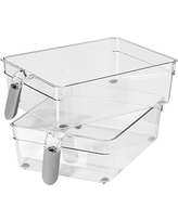 Oggi 5158 Set of 2 Refrigerator and Pantry Clear Storage Bins with Handles ( 12.25-inch x 7.8 inch x 3.4 inch )